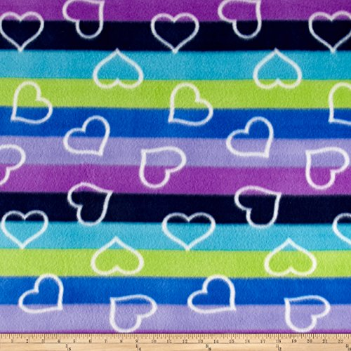 Polar Fleece Print Ombre Hearts Lagoon Fabric By The Yard