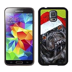 Custom-ized Christmas Black Dog With Red Hat Samsung Galaxy S5 Black Silicone Case,Samsung I9600 Case