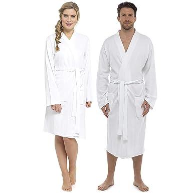 aeead4c3f3 Krishwear Unisex Hotel Kimono Bathrobe Dressing Gown White Luxury 100%  Cotton (One