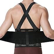 NeoTech Care Adjustable Back Brace Lumbar Support Belt with Suspenders, Black