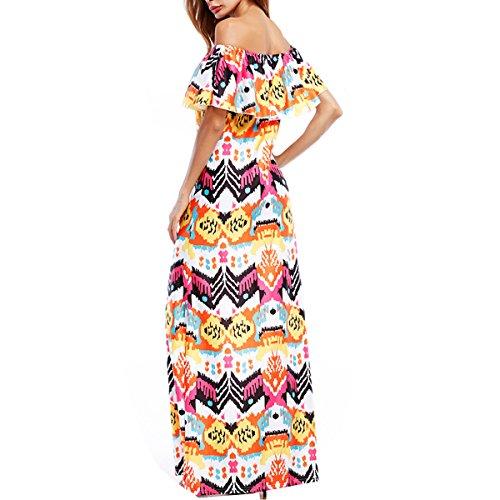 Cuello Atractivo Delgado Lleno Impresión Multi colored Vestido Vestido Elegante M Volantes OSfdq