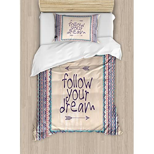 Ambesonne Tribal Duvet Cover Set Twin Size, Inspirational Quote Follow your Dream and Arrows Aztec Framed Graphic Art Print, Decorative 2 Piece Bedding Set with 1 Pillow Sham, Tan Coral Blue for cheap