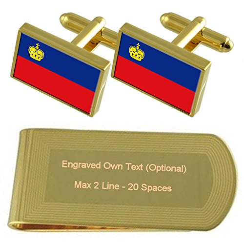 Gold Gift Clip Engraved Money Set Cufflinks Flag tone Liechtenstein vxA0w65qw