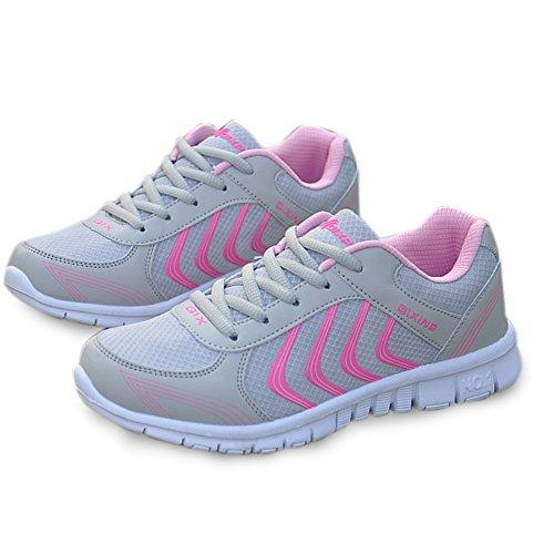 Jiasha Zapatillas De Running Para Mujer Zapatillas De Deporte Con Malla Ligera Transpirable De Color Rosa