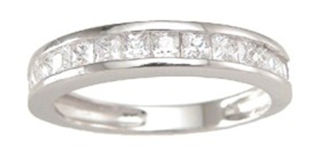 Sterling Silver Channel Set Princess Cut CZ Stackable Band Wedding Ring 7