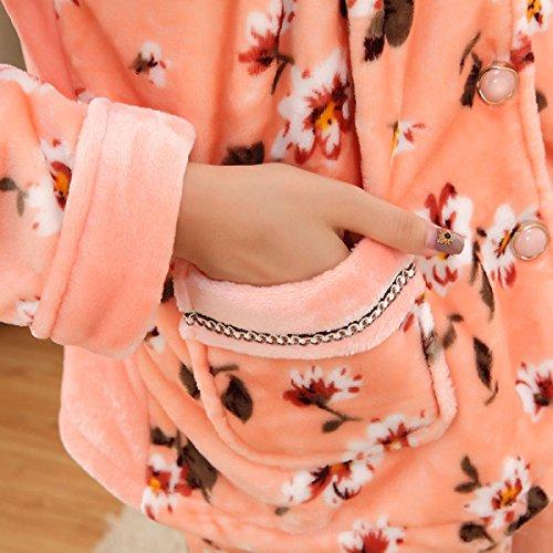 QPALZM La Impresión De Interior Pijamas De Invierno Caliente De Un Solo Pecho Linda apricot