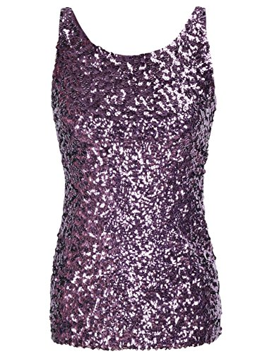 kayamiya Women's 1920S Style Glitter Sequined Vest Tank Tops L Purple]()