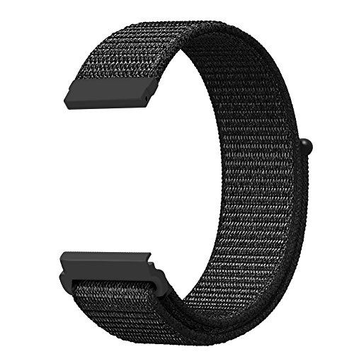Gear S3 Frontier/Classic Sport Loop Band, Fintie 22mm Lightweight Breathable Nylon Replacement Strap Bands with Adjustable Closure for Samsung Gear S3 Smart Watch - Black by Fintie