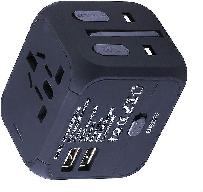 Feifuns Adaptateur universel,Voyage avec Fusible de Sécurité et 2 Chargeurs USB 2.4A Tout en un S'adapte aux Prises de Courants AC Murales aux EU US