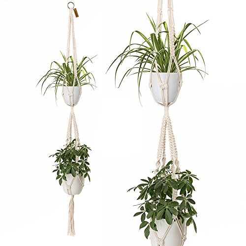 2 Tier Macrame Plant Hanger by TimeYard - Handmade Indoor Hanging Planter Pot Holder - Modern Boho Home Decor by TIMEYARD