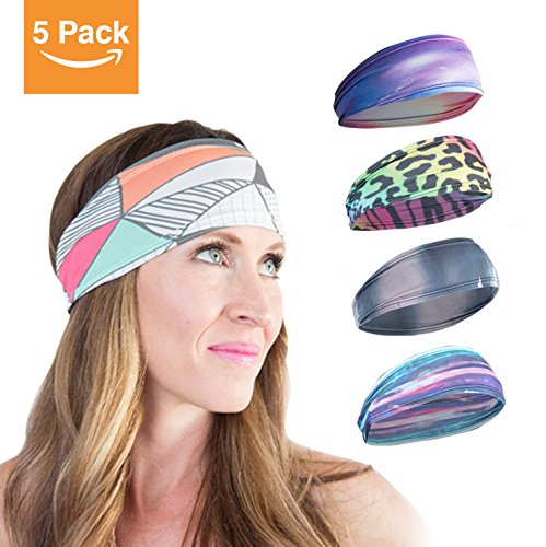[5-pack] Workout Headbands For Women. Power Through Your Workouts in Style With a Dri-Fit Women's Running Headband. Fashion and Exercise Sports Headbands