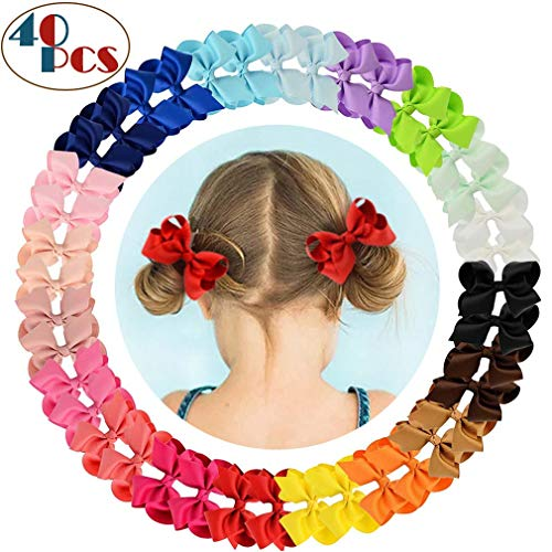 40 pcs Hair Bows for Girls 4 inch - JuneJour HAND MADE Christmas Grosgrain Ribbon Bows Alligator Clip Boutique Hair Bow Barrettes for Baby Girls