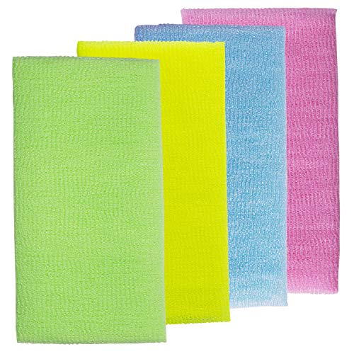 4 Pack Nylon Exfoliating Bath Cloth/Towel, Blue Yellow Green and Pink, Beauty Skin Exfoliating Bath Towel