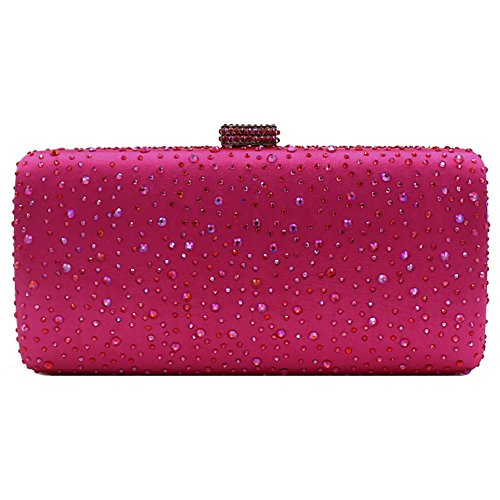 Evening Handbags Clutches Onfashion Women's Purse Diamond Evening Rose Alloy Crystal Red Metal qwHwSgT0