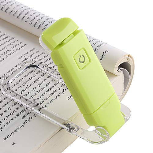 DEWENWILS USB Rechargeable Book Reading Light, Warm White, Brightness Adjustable, LED Clip on Book Lights for Reading in Bed, Perfect for Bookworms, Kids, Green