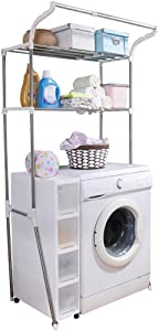 Hershii Over The Toilet Storage Shelf Bathroom Space Saving Organizer Rack Adjustable Stand 2-Tier Wire Shelving Units with Clothes Hanging Rod Rail and Transparent Spacer - Ivory