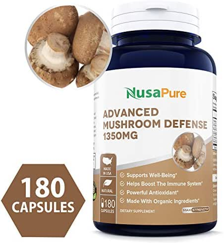 Advanced Mushroom Defense 1350mg 180 caps (Non-GMO & Gluten Free) - Deep Immune System Support - Reishi, Maitake, Shiitake, Astragalus, Dandelion & Beta Glucan