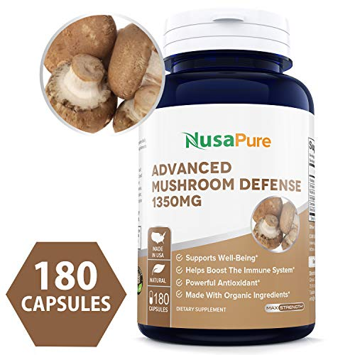 (Advanced Mushroom Defense 1350mg 180 caps (Non-GMO & Gluten Free) - Deep Immune System Support - Reishi, Maitake, Shiitake, Astragalus, Dandelion & Beta Glucan - 100% Money Back Guarantee! )
