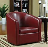 Wildon Modern Barrel Chair – This Leather Upholstered Club Swivel Seat Is Perfect for Your Living or Bedroom – This Accent Furniture Has Removable Seat Cushion! (Red)