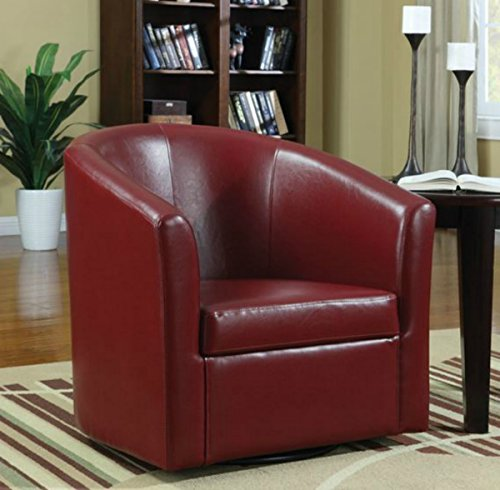 Wildon Modern Barrel Chair - This Leather Upholstered Club Swivel Seat Is Perfect for Your Living or Bedroom - This Accent Furniture Has Removable Seat Cushion! (Red)