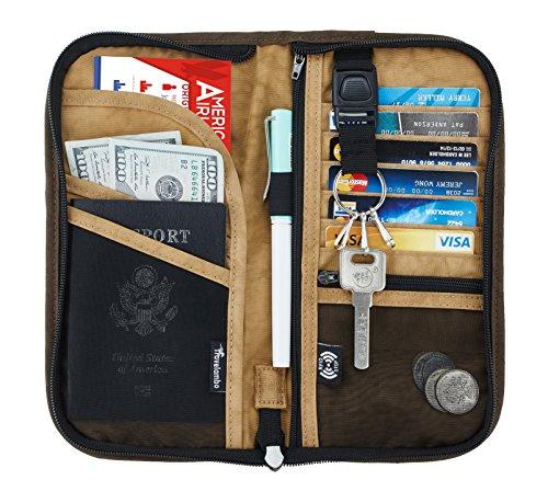Travelambo Travel Wallet Passport Holder Wallet RFID Blocking Credit Card Holders for Men & Women (brown/yellow 2017)