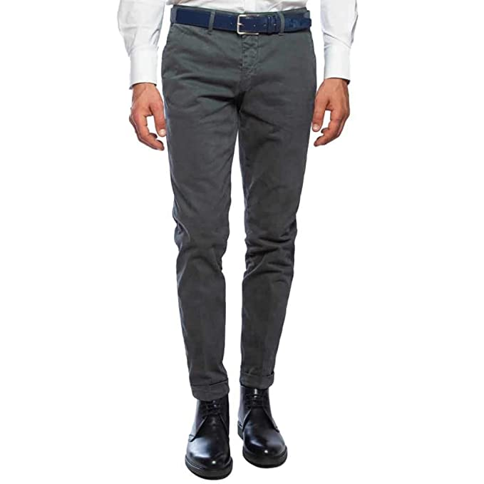 70360c290354 Sartoria Italiana - Massimiliano Sorvino Pantalone Elegante Slim Fit Grigio  Scuro con Risvolto (46 IT