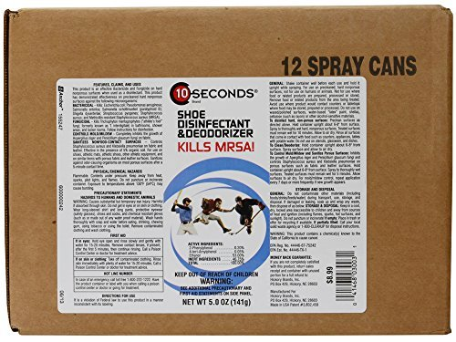 10-Seconds Shoe Deodorizer and Disinfectant - The Only EPA-Approved Shoe Disinfectant effective against Bacteria, Fungus, Mold, and Mildew (Case of 12) by 10-Seconds