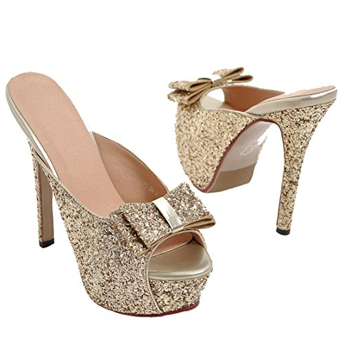 8c7d74aad74f57 Aiyoumei Pantoletten Glitzer Elegant Schleife Schuhe Plateau Mit Sommer  Gold Pailletten High Sandaletten Stiletto Heels Absatzschuhe ...