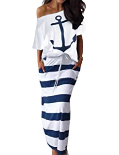 Beachcombers Women Anchor Rayon//Spandex Wrap Dress Red Large