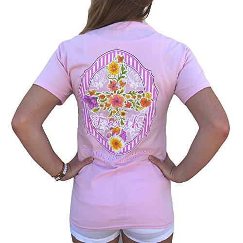 Southern Attitude Faith Floral Cross Light Pink Women's Short Sleeve T-Shirt (X-Large)