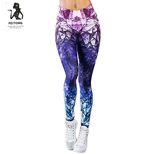 (Litetao Yoga Pants, Women Sexy Colorful Print Trousers Gym Sport Workout Mid Waist Leggings (S, Purple))