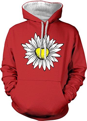 Tcombo Daisy/Sunflower Heart Adult Two Tone Hoodie Sweatshirt (Red/White Strings, Medium)