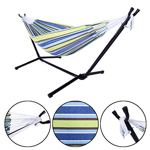 (Goujxcy Hammock,Hammock Stand Portable Hammock Stand Heavy Duty Steel Standfor Outdoor Patio Or Indoor with Carrying Case for Backpacking, Camping, Travel, Beach, Yard(with Hammock Stand))