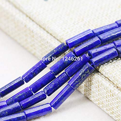 Bead 4x13mm Tube Round (Pukido 4x13mm Blue Lapis Lazuli Tube Beads Accessories Crafts Loose Beads Natural Stone for Women Girls Jewelry Making 15inch)