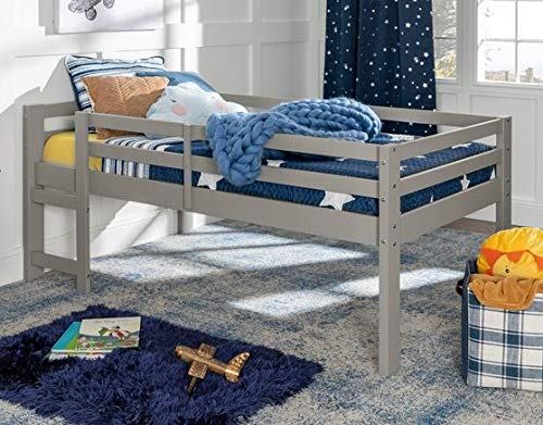 Loft Bed With Stairs-Toddler Loft Bed - Gray Wood Twin Low Loft - Give Your Child