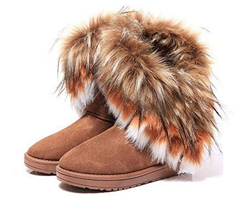Nye Hot Kvinnelige Høst Vinter Snø Støvler Ankelstøvletter Varm Faux Fur Shoes 3 Farger (brun, 37)