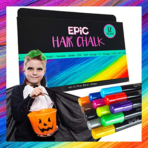 Halloween Hair Designs For Boys (EPIC - Hair Chalk - 12 Large, Colorful Pens - Halloween, Sporting Events - Temporary Color for Girls, Boys, Teens and Adults - Perfect Present Ages 5 6 7 8)