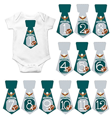 Gift Set of 12 Tie Keepsake Photography Monthly Baby Stickers with Philadelphia Eagles Football T083