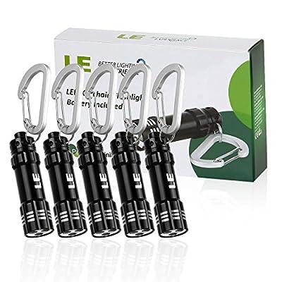 LE 5 Pack Mini LED Keychain Flashlight, Battery Powered Flashlight, Key Chain Flashlights, Torch Light, Black