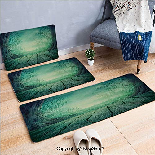 3 Piece Non Slip Flannel Door Mat Spooky Scary Dark Fog Forest with Dead Trees and Wooden Table Halloween Horror Theme Print Indoor Carpet for bath Kitchen(W15.7xL23.6 by W19.6xL31.5 by W19.6xL59)]()