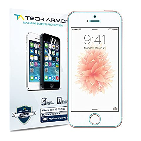 Tech Armor High Definition Clear Screen Protector for iPhone 5/5C/5S/SE (Pack of 3) (Iphone 3 Protector)
