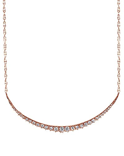Wishrocks Round Cut White Cubic Zirconia Bar Pendant Necklace in 14K Gold Over Sterling Silver