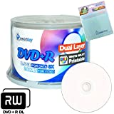 Smartbuy 50-disc 8.5GB/240min 8x DVD+R DL White Inkjet Hub Printable Blank Media Disc + Free Micro Fiber Cloth