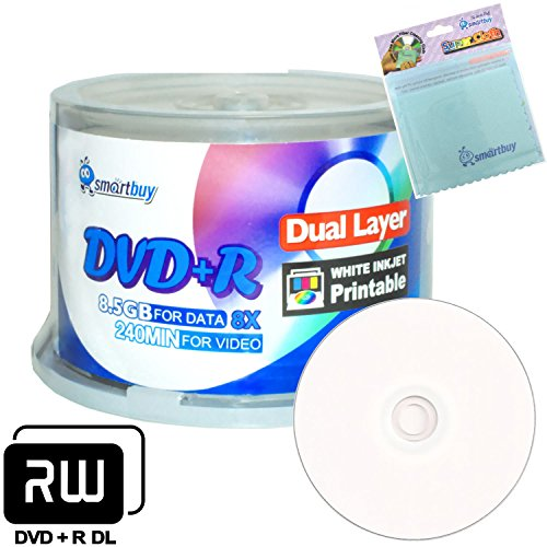 Smartbuy 50-disc 8.5GB/240min 8x DVD+R DL White Inkjet Hub Printable Blank Media Disc + Free Micro Fiber Cloth by Smartbuy
