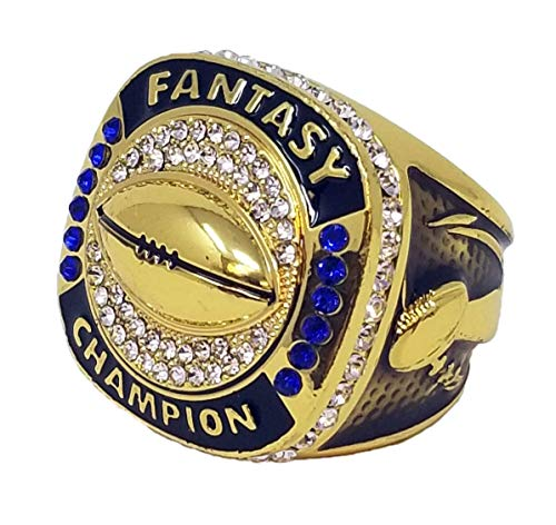 Decade Awards Gold Plated Fantasy Football Champion Ring, Style B - Heavy FFL League Champ Ring with Stand (9)