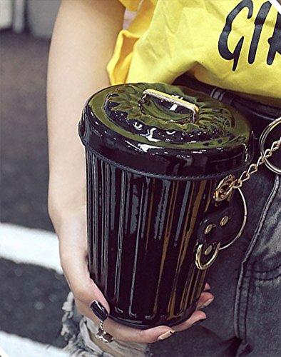 Cute QZUnique Shape bag Handle Bag Black Shape Chain Handbag Bucket Shoulder Cup Girl's Metal r4qwBr