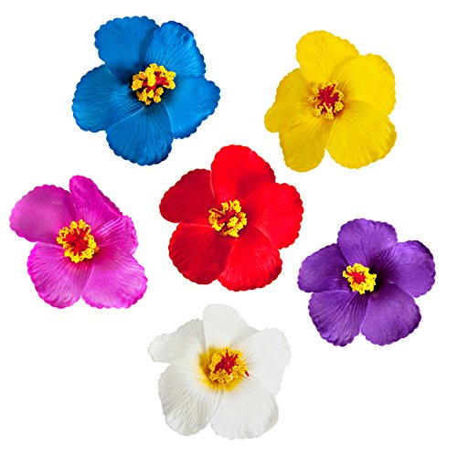 CoCoHe 6Pcs Hair Clips Hawaiian Hibiscus Flower 3.9 Inch for Occasions Wedding Beach Party Decoration (Multiple Color 2) ()