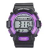 YAZILIND Unisex Sports Watch Multifunction Led Light Digital Waterproof Wristwatch-Purple