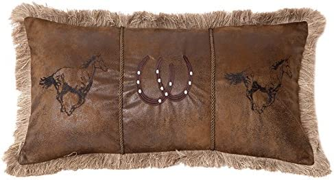 Carstens, Inc Running Horses Faux Leather Decorative Pillow, 14 x 26 , Multicolor