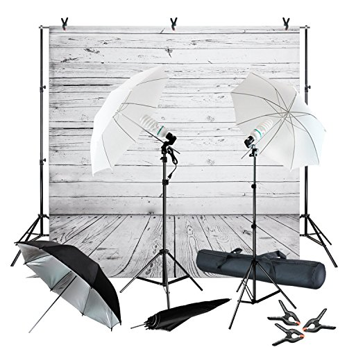 Julius Studio Wood Floor Backdrop Muslin with Umbrella Lighting Kit, Background Support Stand, Bulb, Socket, Spring Clamp, White & Black Umbrella Reflector, Photography Studio, JSAG355 by Julius Studio